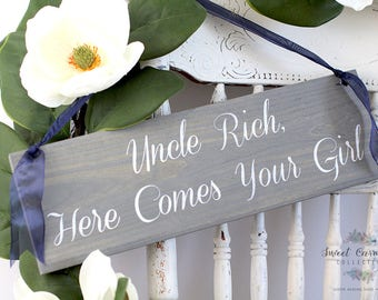 Ring Bearer Sign | Here Comes the Bride Sign | Here Comes Your Bride Sign | Uncle Here Comes Your Bride | Here Comes My Mommy Sign  - WS-105