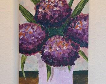 Hydrangea in Vase 10x20 original acrylic on canvas