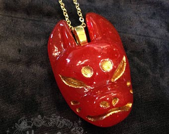 Red with glitter Kitsune Yokai Necklace with ume plum blossom