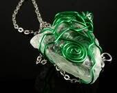 Wire wrapped sea glass ne...
