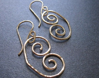 EGYPTIAN SCROLL Interchangeable Earrings Hammered Sterling Silver, Gold Filled, Rose Gold Free Drops