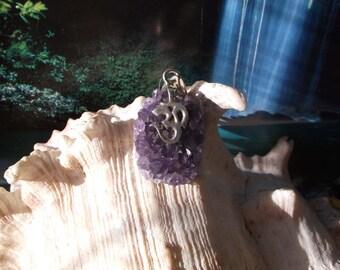Language of Light Amethyst Ohm Pendant..925 Sterling Silver..3rdEye ..Violet Flame...Zen Geode