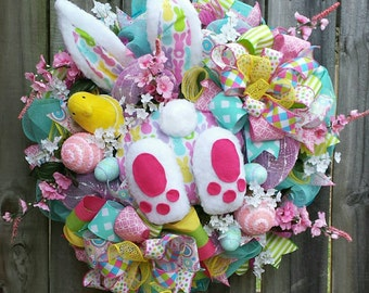 Easter bunny booty wreath, Easter peeps wreath, Easter wreath, Spring wreath, Easter peeps bunny, Easter bunny decor, Easter bunny wreath