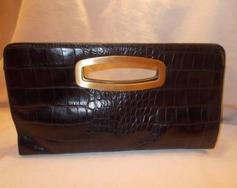 Large Vintage Donald j Pliner black leather crocodile embossed clutch handbag
