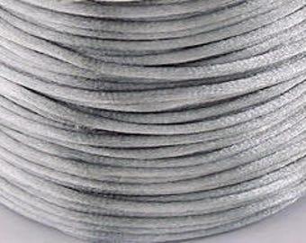 10M 1mm SILVER Satin Rattail Cord - Kumihimo - Macrame - Chinese Knotting - Friendship Bracelet - Beading - CORD