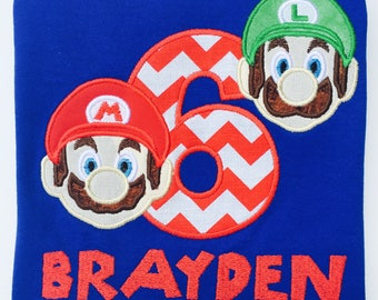 SUPER Bros.-Personalized EMBROIDERED Birthday T-shirt