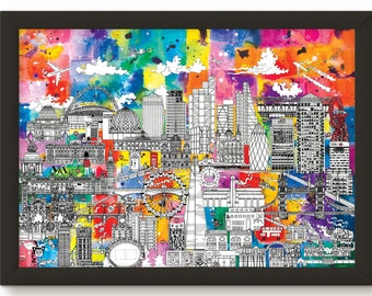 Colourful London Skyline Drawing Giclee Print
