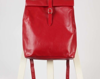 Red leather backpack rolltop rucksack / To order