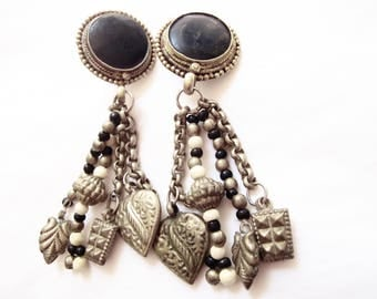 Vintage Boho Dangle Drop Earrings - Two Round Obsidian Gemstones - Dangle Medallions and Beads - Ethnic - Hippie - Clip On Gemstone Earring