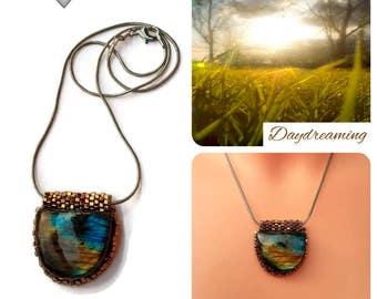labradorite pendant, natural stone geometrical pendant, Seed beads embroidery pendant, labradorite gemstone, minimalist necklace, Bronze
