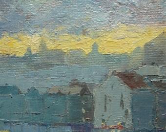 Peinture à l'huile soleil couchant sur la ville vue sur la partie industrielle toile sur panneau bois peinture années 50 thème monde ouvrier