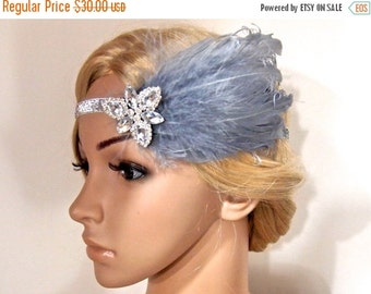 SALE Grey Gatsby headband, Flapper headband, Gatsby Headpiece, Great Gatsby 1920 headpiece, Feather beaded headband, Roaring 20s headband