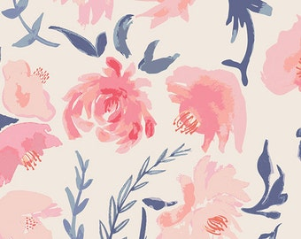 Baby Bedding Crib Bedding - Watercolor Flowers Coral Pink Navy - Baby Blanket, Crib Sheet, Crib Skirt, Changing Pad Cover, Boppy Cover