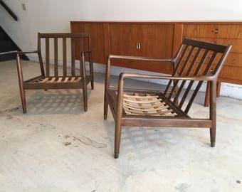 Pair of Dux Swedish Mid Century Modern Lounge Chairs