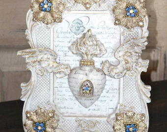 Sacred heart, Ex voto heart, sacred heart frame, french frame, unique gifts, gifts for her, wall decor, Mediterranea Design Studio ex voto
