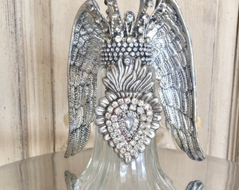 Mixed media angel, Altered art, assemblage art, steampunk decor, guardian angel, angel wing, crown, mixed media angel, altered salt shaker