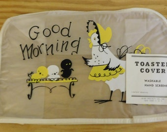 vintage TOASTER COVER vinyl hen and chicks new with tag