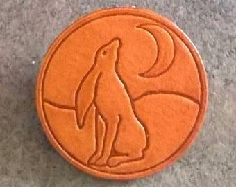 Handmade Leather Badge/Brooch/Pin Moon Gazing Hare