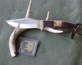 Big Game Skinner Hunting Knife with Black Palm and Spalted Sycamore Handle