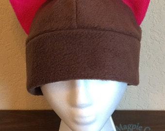 Brown and Fuchsia Fox Ear Beanie