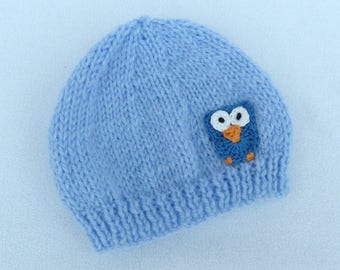 Premature baby beanie hat hand knitted in sky blue to fit tiny baby. Baby clothes, baby accessories, baby gift.