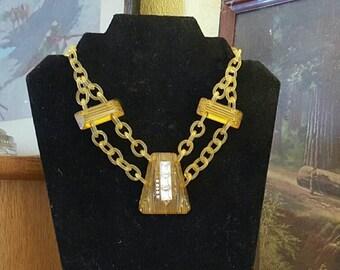 Vintage Art Deco Apple Juice  Bakelite Pendant W/Celluloid Chain Brass Clasp 1930s