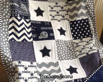 DALLAS COWBOY quilt in Navy, Gray & White/NFL Dallas Cowboy quilt/Go Cowboys!!!