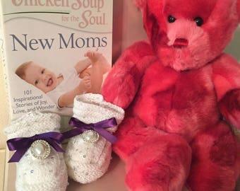Princess Charlotte Sequin Jewel White Purple Ribbon Handmade Knit Baby Booties