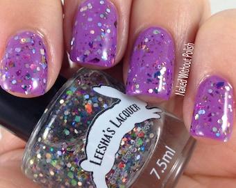 Rainbow Glitter Nail Polish, Flakie Indie Nail Polish, Glitter Topper- Michi Peshu - Ojibwe Fairytale Collectio