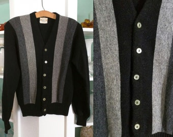 1960s Wool Sweater / Vintage 60s Golden Brent Men's Black and Grey Wool Acrylic Striped Rockabilly Cardigan / Rat Pack / Paneled Sweater - S