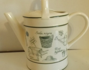 Vintage Porcelain Watering Can Pitcher 10 Inches CL33-1