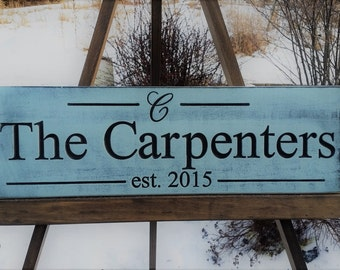 Last Name sign - Aged and Weathered - Personalized Family Name sign - Established Sign - Carved Last name sign