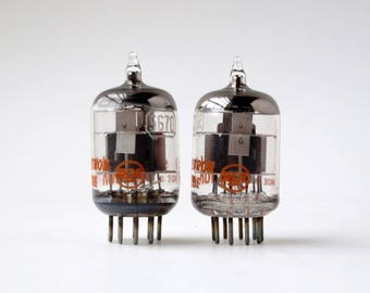 pair: RCA 5670 black plate vacuum tubes - 1959 - matching date codes - meatball logo -new old stock - excellent condition - 396A