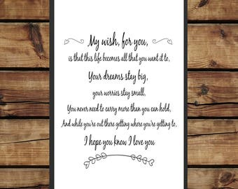 My Wish - Lyrics print -  black and white