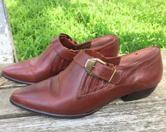 Vintage 1990s Western Style Leather Ankle Bootie / Shoe Woman Size 7 M