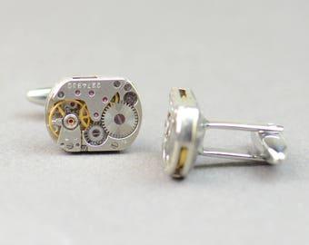 Steampunk watch cufflinks.Stainless steel leg.Watch mechanism movement