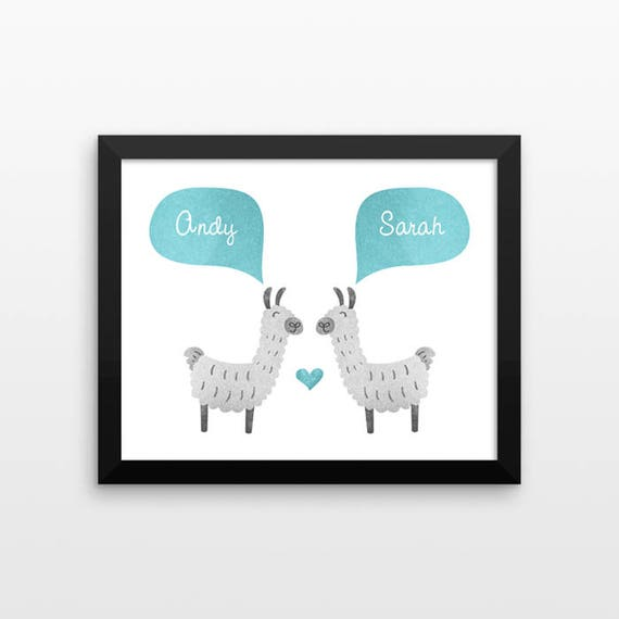 LLAMA ALPACA Couple Personalized Art Print, Anniversary, Engagement, Wedding Gift, Couples Gift, Valentines Gift, Animal Couple Wall Art