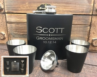 Set of 5, Groomsmen Gift, Flask Gift Set - Wedding Party Flasks, Engraved Flask, Personalized Flask, Groomsmen Flask, Monogram Flask
