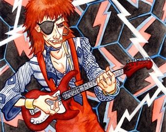 David Bowie, Rebel Rebel, Diamond Dogs, Original Watercolor Painting