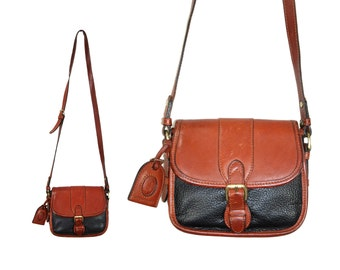 Black & Brown Leather Messenger Satchel Purse // Equestrian Saddle Purse by Liz Claiborne // H255
