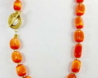 Melon Ball Cat's Eye Beaded Necklace, Handmade with Egyptian Brass, One of A Kind, Colorful, Women's Accessories, Fashion Jewelry, Chunky,