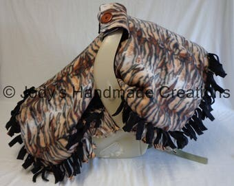 FREE SHIPPING - Infant / Baby Carseat Canopy / Tent / Cover  -Tiger Print Fleece / Brown Back