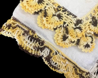 Vintage Hankies Handkerchiefs Set of Two Repurpose Crochet Edging Delicate Irish Linen Hankies Handmade Yellow and Brown Crochet Hanky