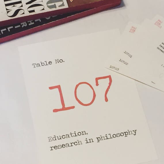 Library Wedding Dewey Decimal System Table Number Cards (set of 10) / Literary Wedding Call Number Table Numbers