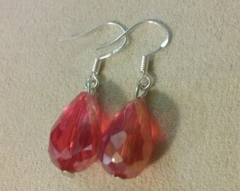 Artisan Handmade Cherry Red Faceted Teardrop Glass Crystal Dangle Style Sparkle Earrings Elegant Jewelry Gift Accessory