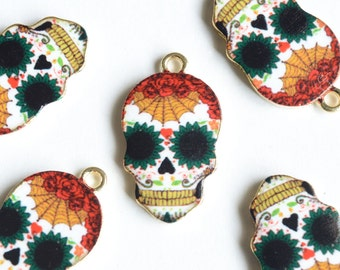 Sugar Skull Charms, Gold Plated Skull Pendants - 4 pieces (129G)