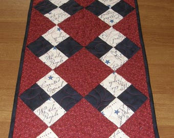 Patriotic Quilted Table Runner, Americana Table Runner, Navy Blue Red Cream Table Runner, Patchwork Americana Quilt, Patchwork Table Runner