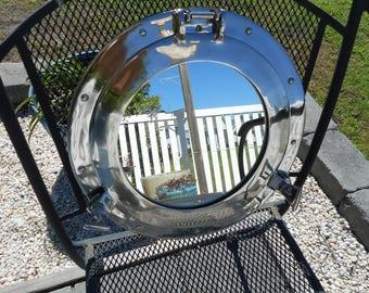 Large 15 inch chrome porthole mirror / beach decor / nautical decor