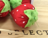 Catnip Strawberry, cotton strawberry, cat toy, kitten toy, make believe strawberry