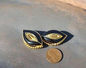 Vintage Trifari Artist Signed Black and Gold Earrings